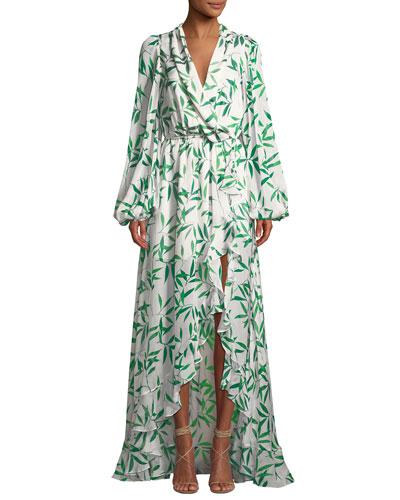Olivia Leaf-Print Long-Sleeve Silk High-Low Gown