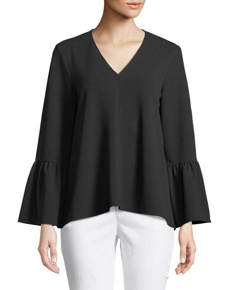 Structured Bell-Sleeve Crepe Top