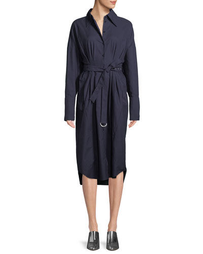 Watts Long-Sleeve Belted Oxford Shirtdress
