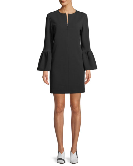 Structured Crepe Bell-Sleeve Mini Dress in Black