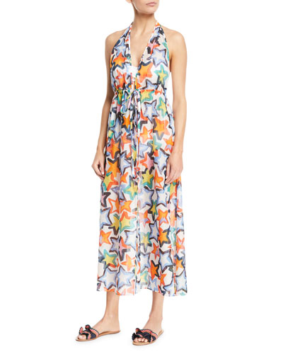 Katrina Printed Halter Maxi Coverup Dress