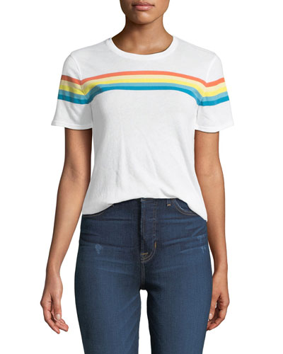 Lakota Crewneck Short-Sleeve Rainbow-Print T-Shirt
