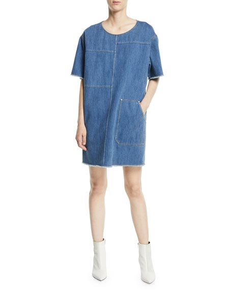 Harper Crewneck Short-Sleeve Paneled Oversized Denim Tee