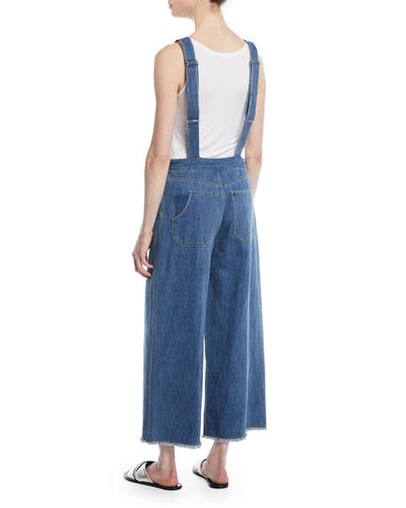 Jennette Square-Neck Knot-Strap Wide-Leg Denim Jumpsuit