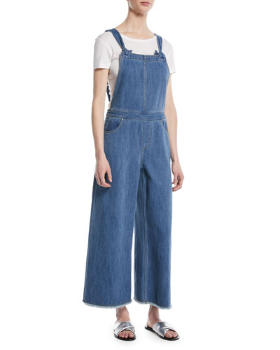 Jennette Square-Neck Knot-Strap Wide-Leg Denim Jumpsuit