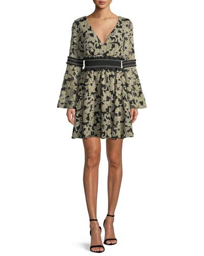 Mika Floral Mini Dress w/ Smocked Insets