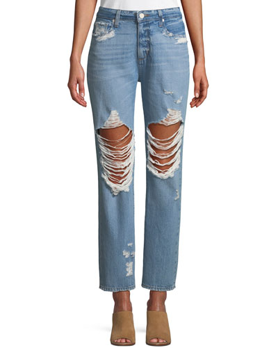 Noella Distressed Straight-Leg Jeans
