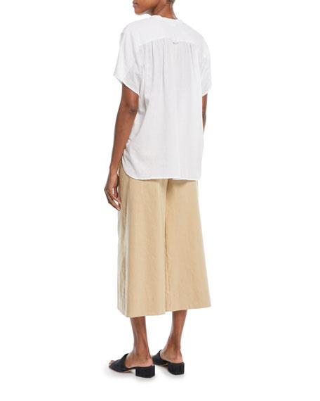 Short-Sleeve Popover Poplin Top
