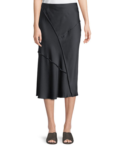 Raw-Edge Silk Midi Skirt