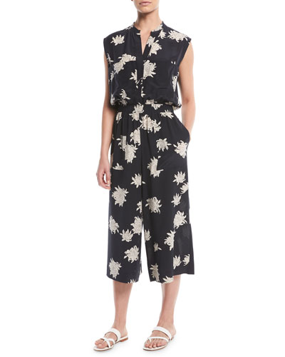 Silk Chrysanthemum Sleeveless Cropped Jumpsuit
