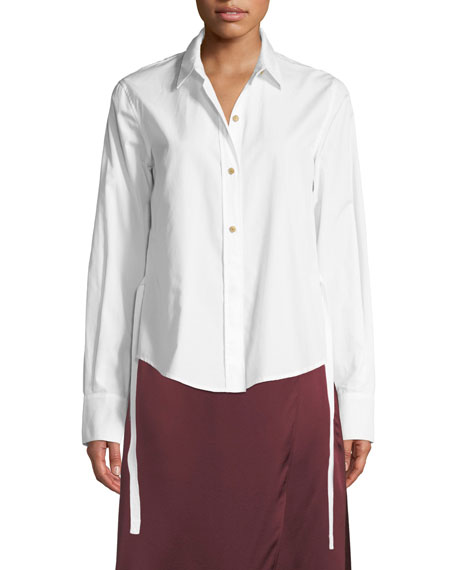 Front-Tie Long-Sleeve Button-Down Top