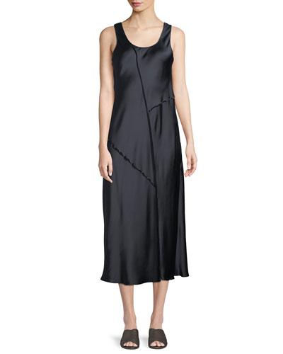 Raw-Edge Silk Tank Dress