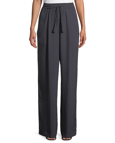 High-Rise Drawstring Wide-Leg Pants