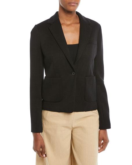 Patch-Pocket One-Button Blazer, Black