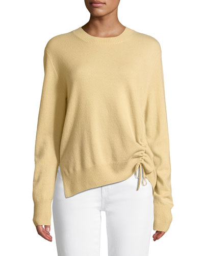 Cinched-Side Crewneck Cashmere Sweater
