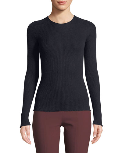 Ribbed Cashmere Long-Sleeve Crewneck Top