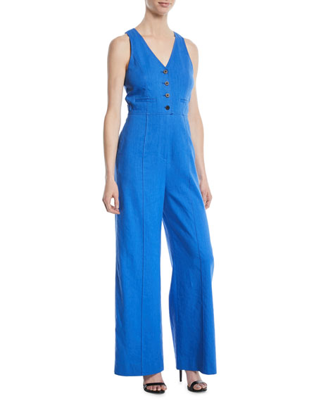 Fitted Button-Front Linen-Stretch Jumpsuit