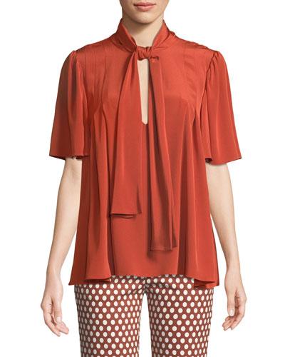 Silk Neck-Tie Short-Sleeve Blouse