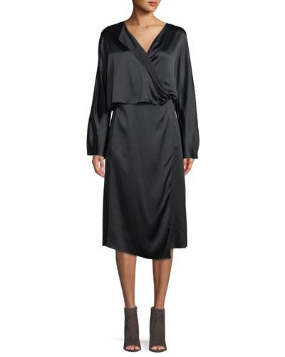 Draped Silk Panel Midi Dress
