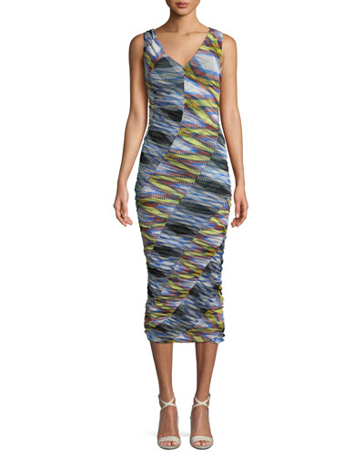 Check Sleeveless Mesh Bias-Ruched Midi Dress