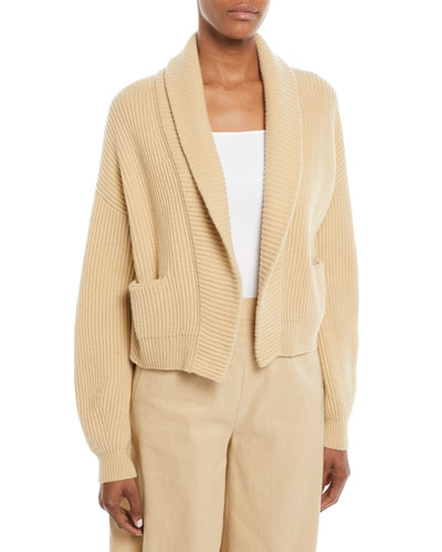Cropped Shawl-Collar Cardigan