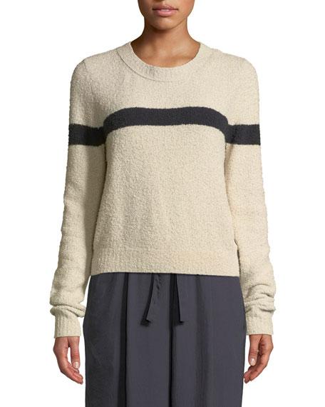 Single-Stripe Crewneck Cotton-Blend Pullover Sweater