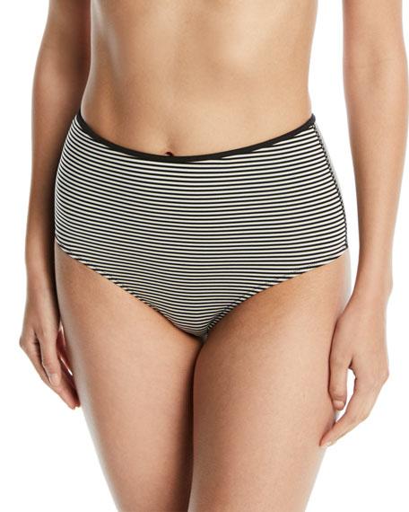 MARYSIA Tarpum Bay Striped High-Waist Bikini Bottom in Black/White