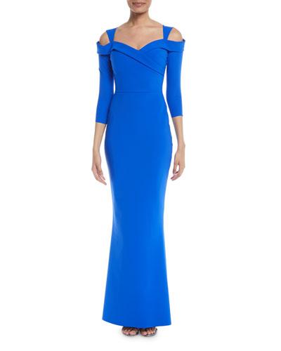 Joselya Cold-Shoulder 3/4-Sleeve Mermaid Gown