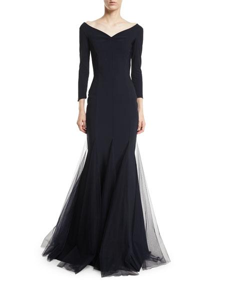 Chiara Boni La Petite Robe Diva Sheer Godet Mermaid Gown