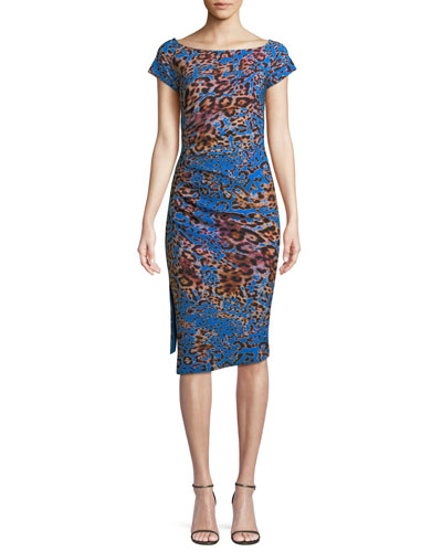 Devsi Animal-Print Short-Sleeve Dress