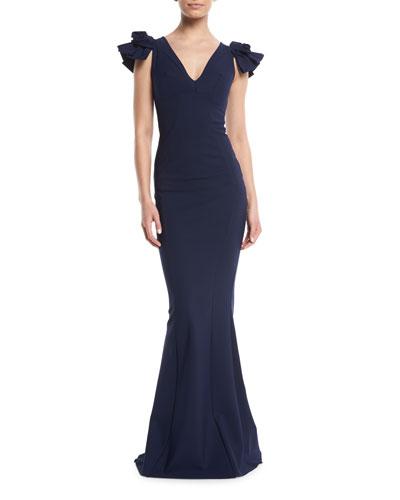 Belvis V-Neck Rosette-Sleeve Gown