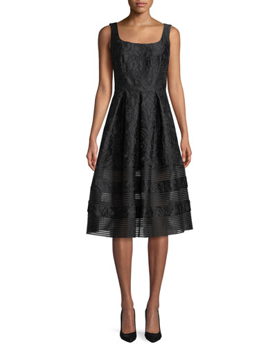 Brocade Fit-&-Flare Dress w/ Mesh Insets