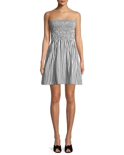 Striped Poplin Strapless Mini Dress