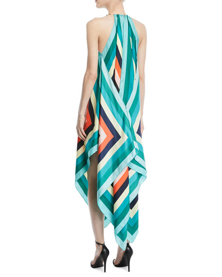 Gia Scarf-Hem Silk Midi Dress