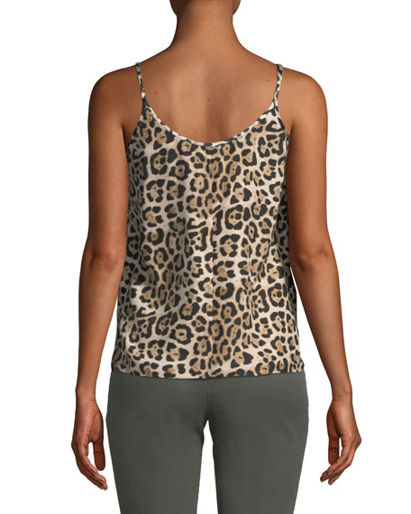 Leopard-Print Silk Charmeuse Cami Top