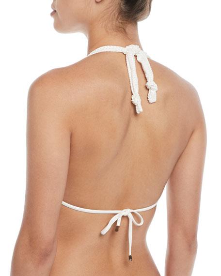 White Scales Bia Halter Triangle Bikini Top