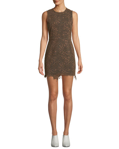 Frayed Leopard-Print Sleeveless Mini Dress