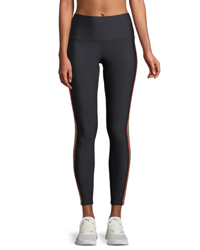High-Waist 7/8-Length Side-Stripe Leggings