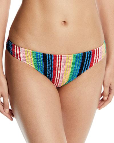 Striped Smocked Cheeky Bikini Bottom