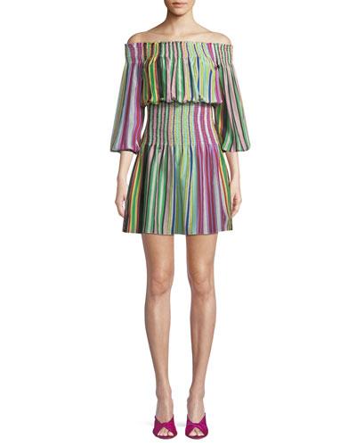 Striped Off-the-Shoulder Mini Coverup Dress