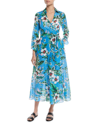 Long-Sleeve Collared Floral Wrap Coverup Dress