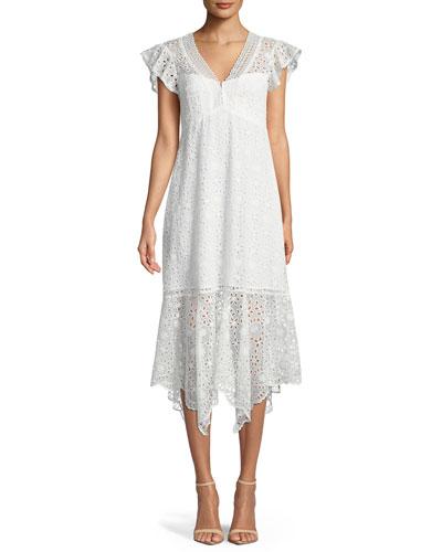 Limelight Scalloped V-Neck Eyelet Dress