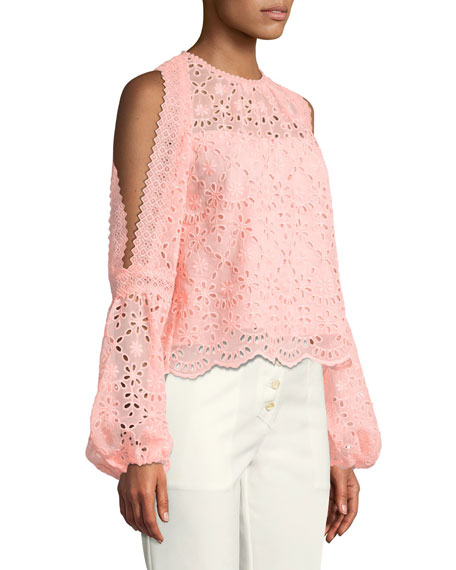 Portrait Scalloped Eyelet Top