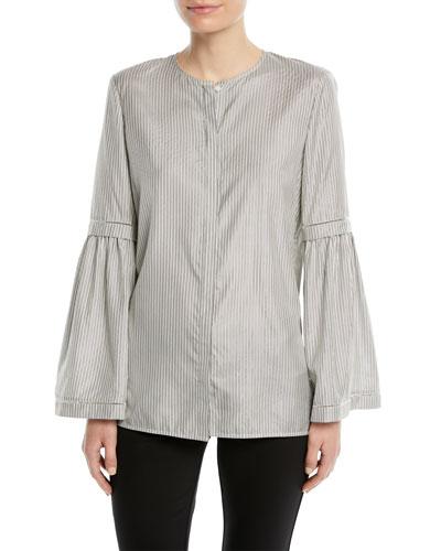 Roanna Multi-Stripe Bell-Sleeve Blouse