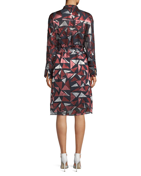 Calleigh Geometric-Print Duster Dress