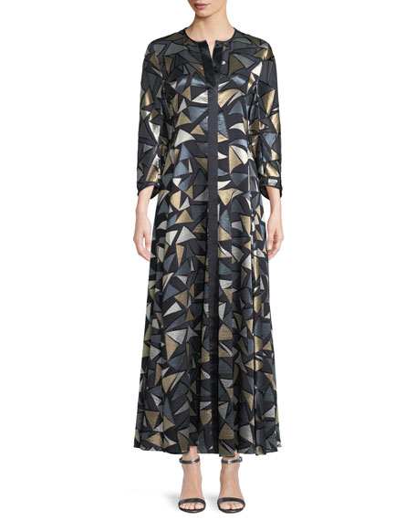 Cadenza Geometric-Devore Dress with Slip