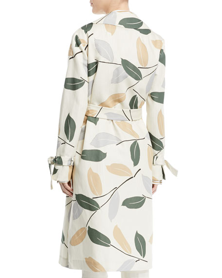 Rayna Leaf-Pattern Trench Coat