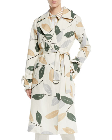 Lafayette 148 New York Rayna Leaf-Pattern Trench Coat