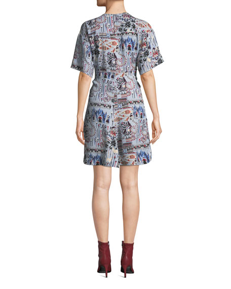 Printed V-Neck Short-Sleeve Dress