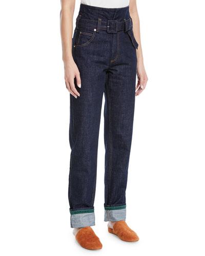 Belted High-Waist Straight-Leg Jeans